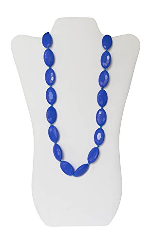 Little Teether Modern Teething Necklace for Baby Nursing - Stylish Silicone Necklace for Moms, Teether for Babies. Provides Teething Pain Relief. Food-Grade Safe! Teething Remedy Approved by Mothers! - Blue