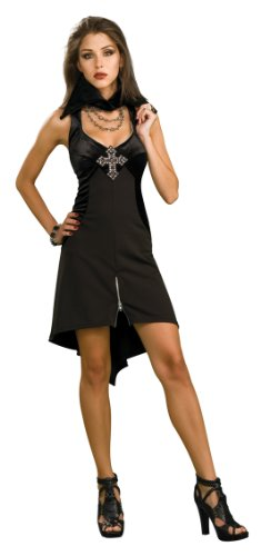 Sexy Goth Vampire Mini Dress Adult Punk Halloween Costume STD