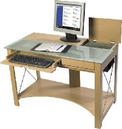 Buy Low Price Comfortable Leda Maple with Frosted Glass Amber Computer Desk (B0017LX84G)