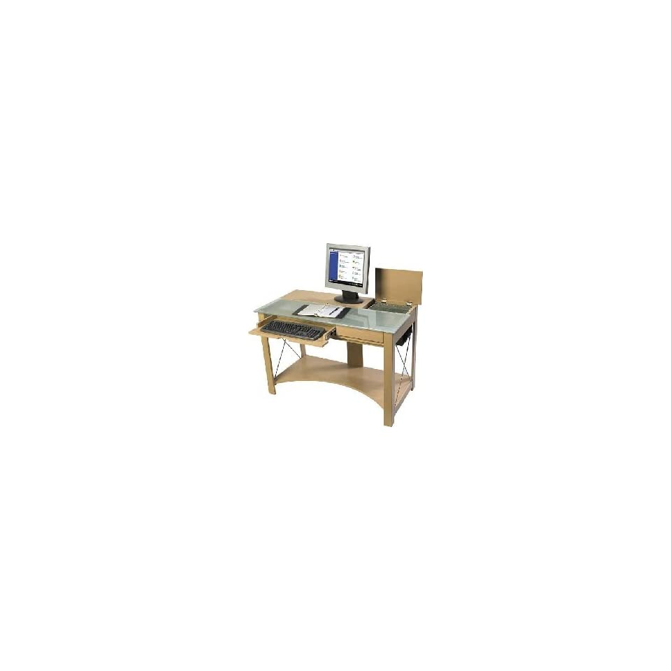 Leda Maple With Frosted Glass Amber Computer Desk On Popscreen