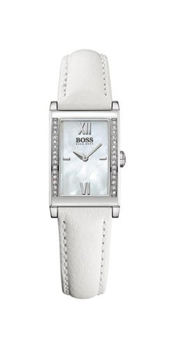 Hugo Boss Ladies Quartz Watch with Mother Of Pearl Dial Analogue Display and White Leather Strap 1502178