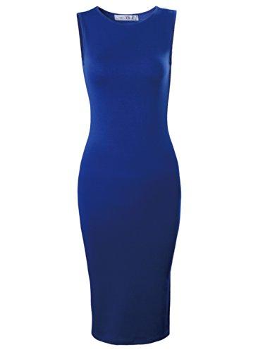 Tom's Ware Women's Classic Slim Fit Sleeveless Midi Dress TWCWD051