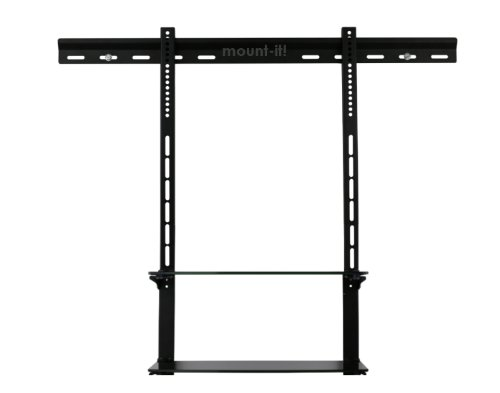 Mount-It! Low Profile Flat Panel Tv Mount And Glass Entertainment Center Combo (2 Shelf, 40 Inch - 90 Inch) front-959116