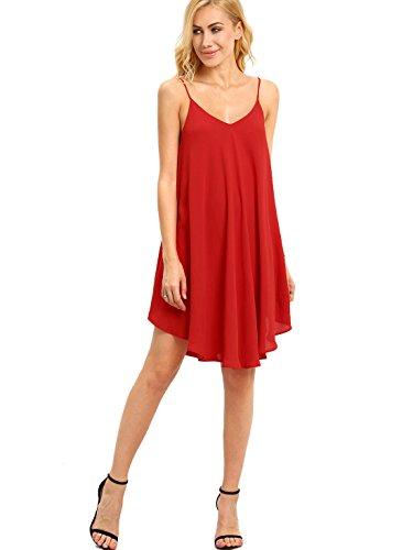 ROMWE Women's Summer Spaghetti Strap Sundress Sleeveless Beach Slip Dress Dark Red S