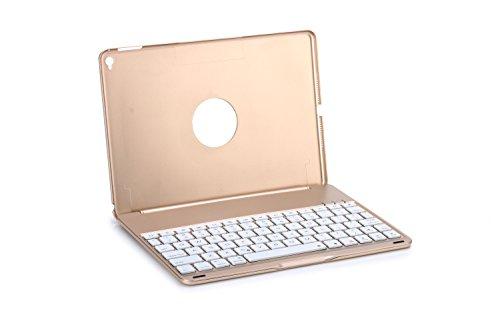7色バックライト キーボード iPad Air2専用 Bluetooth3.0 キーボードケース 極薄キーボード 軽量アルミボディ F8S+ (ゴールド)