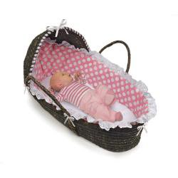 Cheapest Price! Badger Basket Moses Basket with Polka Dot Hood and Bedding, Espresso/Pink