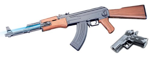 Spring AK47Y Assault Rifle And Spring Pistol Combo, Flashlight, Full Stock Airsoft Gun