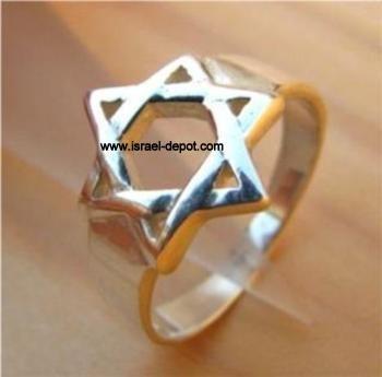 Jewish Sterling .925 Silver Ring Magen David Star