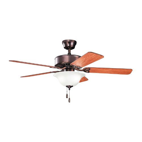 Kichler Lighting 330110Obbu Renew Select 50-Inch 3-Light Ceiling Fan, Oil Brushed Bronze Finish With Reversible Blades And Umber Etched Glass Light Kit front-934833