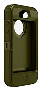 Otterbox Defender Series Hybrid Case & Holster for iPhone 4 & 4S  - Retail Packaging - Gunmetal Grey/Envy Green