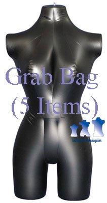 Grab Bag of 5 Inflatable Mannequins, Female 3/4 Form, Matte Black