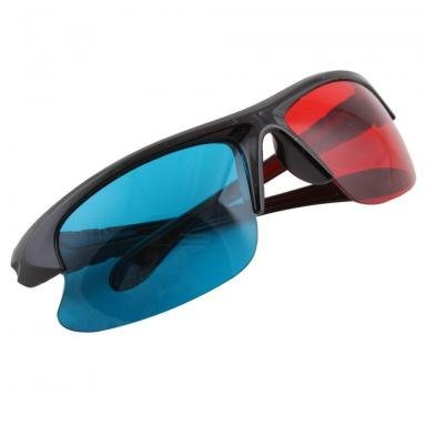 3D Glasses Sport Style Red & Blue Dimensional Anaglyph Black Plastic Frame 3D BuyinCoins by Buyincoins