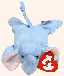 TY Teenie Beanie Babies Peanut the Elephant Stuffed Animal Plush Toy - 6 inches long - In original plastic bag - 1