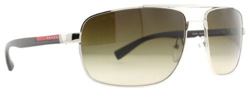 prada Prada Sport PS55NS Sunglasses-1BC/6S1 Silver (Brown Gradient Lens)-63mm