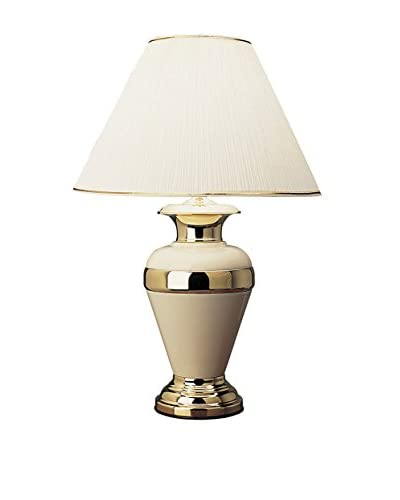 ORE International Striped Metal Lamp, Ivory/Gold