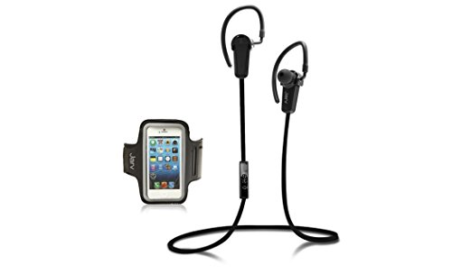 Jarv NMotion Wireless Bluetooth 4.0 Stereo Earbuds with Universal Sports Armband Black