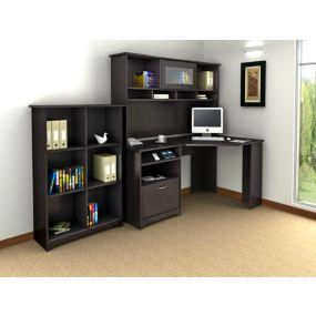Cabot Corner Desk with Hutch and Bookcase in Espresso Oak Finish by Bush Furniture