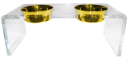 Platinum Pets 5 Star Modern Solid Acrylic Dog Feeder with 2 Extra Heavy 1-Quart Gold Bowls