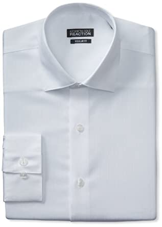 Kenneth Cole Reaction Men's Textured Solid Dress Shirt, White, 14.5 32-33
