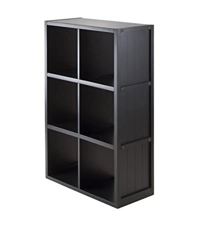 Luxury Home Wainscoting 6-Cubby Shelf Cube, Black