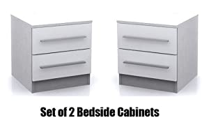 Edge White High Gloss Set of 2 2 Drawer Bedside Cabinet       Customer review