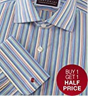 Sartorial Pure Cotton Rainbow Striped Shirt