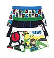 3 Pack Cotton Rich Ben 10™ Assorted Trunks