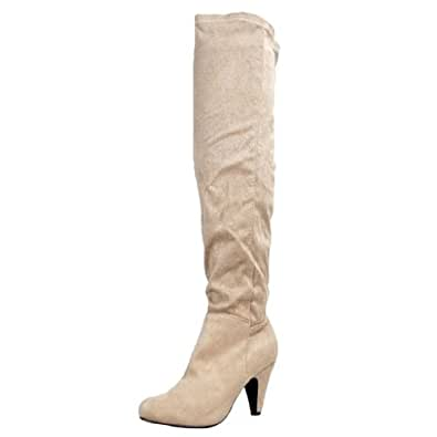 Qupid METHOD-01 Stretchy Over the Knee Thigh High Heel Sexy Boot,Method-01 Taupe Stretch Su 5.5