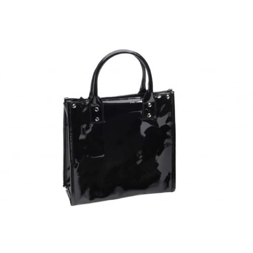 Danielle High Gloss PVC Lunch Tote - Black