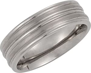 8 mm Comfort Fit Titanium Grooved Band Size 9
