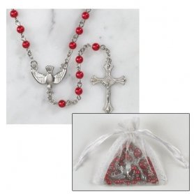 "5mm Red Pearl Confirmation Rosary with Organza Bag. Material: Moulded/silver Plate Size: 5mm; 17 1/2"" L; 1 1/2"" Crucifix. Fifteen Promises of the Rosary: In the Thirteenth Century, Saint Dominic and Blessed Alan Received the Following Promises From Our Lady for All Those Who Faithfully Pray the Rosary: To All Those Who Shall Pray My Rosary Devoutly, I Promise My Special Protection and Great Graces. Those Who Shall Persevere in the Recitation of My Rosary Will Receive Some Special Grace. The Rosary Will Be a Very Powerful Armor Against Hell; It Will Destroy Vice, Deliver From Sin and Dispel Heresy. The Rosary Will Make Virtue and Good Works Flourish, and Will Obtain for Souls the Most Abundant Divine Mercies. It Will Draw the Hearts of Men From the Love of the World and Its Vanities, and Will Lift Them to the Desire of Eternal Things. Oh, That Souls Would Sanctify Themselves By This Means. Those Who Trust Themselves to Me Through the Rosary Will Not Perish. Whoever Recites My Rosary Devoutly Reflecting on the Mysteries, Shall Never Be Overwhelmed By Misfortune. He Will Not Experience the Anger of God nor Will He Perish By an Unprovided Death. The Sinner Will Be Converted; the Just Will Persevere in Grace and Merit Eternal Life. Those Truly Devoted to My Rosary Shall Not Die Without the Sacraments of the Church. Those Who Are Faithful to Recite My Rosary Shall Have During Their Life and At Their Death the Light of God and the Plenitude of His Graces and Will Share in the Merits of the Blessed. I Will Deliver Promptly From Purgatory Souls Devoted to My Rosary. True Children of My Rosary Will Enjoy Great Glory in Heaven. What You Shall Ask Through My Rosary You Shall Obtain. To Those Who Propagate My Rosary I Promise Aid in All Their Necessities. I Have Obtained From My Son That All the Members of the Rosary Confraternity Shall Have As Their Intercessors, in Life and in Death, the Entire Celestial Court."