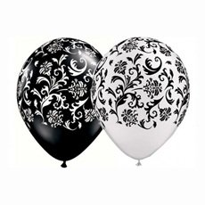 24 Assorted Black and White Damask Print Balloons - 1