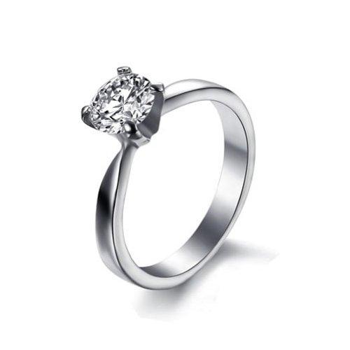 JewelryWe 2013 Newest Titanium Stainless Steel Cubic Zirconia Solitaire Anniversary Ring Engagement Wedding Band