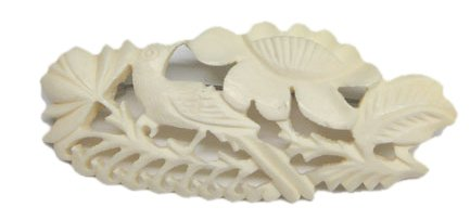Hand carved bone brooch pin - bird and flower design
