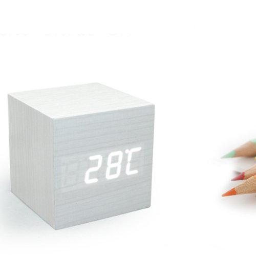 Hacbiwa Voice Control Wooden Clock White Wood White Words Led Display Watches