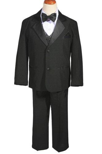 AMJ Dresses Inc Big Boys 5 Pieces Black Wedding Tuxedo Suit
