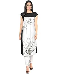 ZIYAA White Color Half Sleeve AndBoat Neck Faux Crepe Kurti - B01DY7AL9K