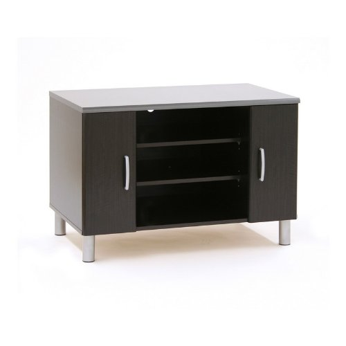 Image of Contemporary Style Black Onyx/charcoal Finish Recreative Entertainment Center Tv Stand (AZ79-16834)