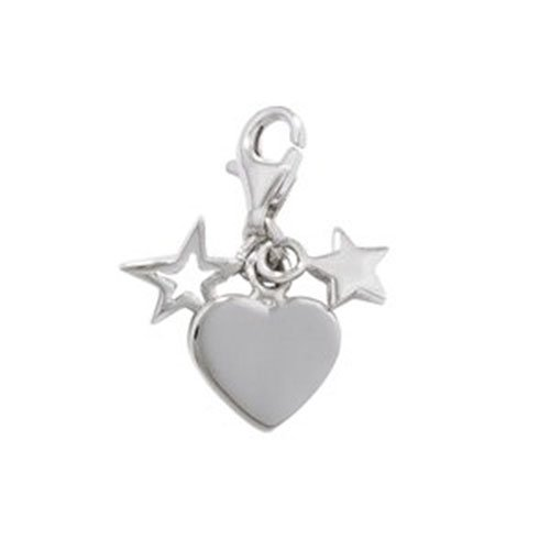 Silver HEART & STARS Clip-On Charm - 925 Sterling Silver - Thomas Sabo Style