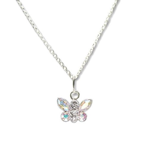 Butterfly Necklace with SWAROVSKI ELEMENTS Crystal Aurora Borealis AB Rhinestones in Sterling Silver