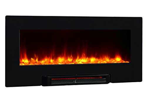 Puraflame Provo Black 36 Inch Remote Control Portable & Wall Mounted Flat Panel Fireplace Heater, 1350W. Far-Infrared Heater, Heating Evenly. Large Flame Viewing Area, Front Air Outlet Design. Anti-Scald Air Outlet Cellular Flocked Net Design. Anti-Drying