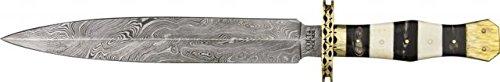 Colt Damascus Dagger Fixed Blade Knife, 10.375In, Damascus Steel Double Edged Dagger, White Ct817