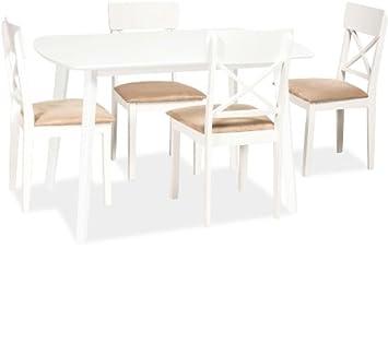 """Essgruppe """"Luton"""" Holztisch + 4 Stuhle Weiß"""