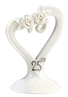 Hortense B. Hewitt Wedding Accessories 25th Anniversary Pearl Rose Cake Top