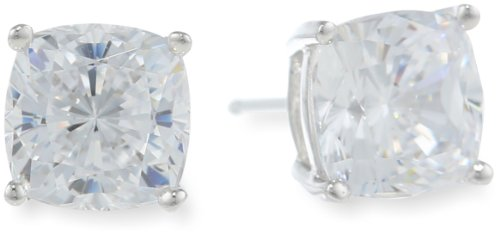 Platinum Plated Sterling Silver Cushion-Cut Cubic Zirconia Studs (4 cttw)