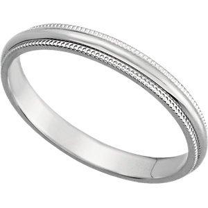 Platinum Milgrain Wedding Band:2.5MM: Size 8