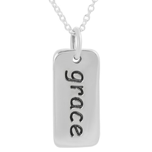 Alexandria Collection Sterling Silver 'Grace' Tag Necklace .925 Stamp
