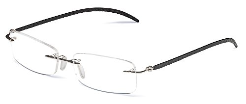 Specs Silver Rimless Reading Glasses with Black Leather ...