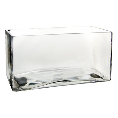 "Glass Rectangle Vase. H-4"", Open-8"" x 4"""