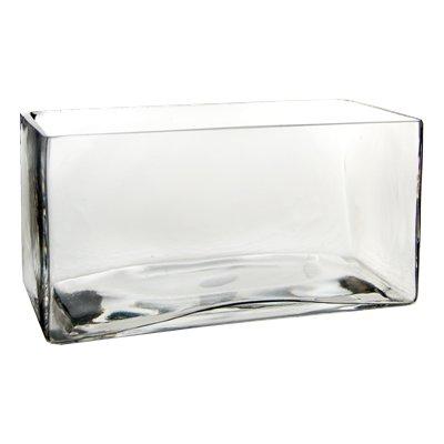 "Glass Rectangle Vase. H-4"", Open-8"" x 4"""